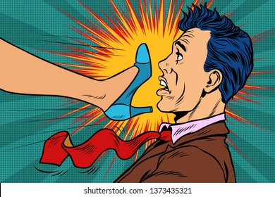girl power, woman fights with a man. Gender conflicts and inequality. Pop art retro  illustration