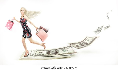 girl quickly spends money, money flies away, photos and drawing, white background