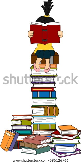 Girl reading on stack of books