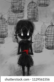 Girl with a red bird on the background of bird cages. Atmospheric mystic illustration cover print