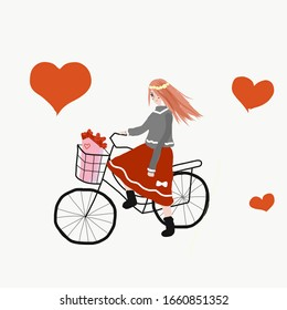 A girl is riding a bicycle with a bouquet of flowers in the basket. Nice background for express love.