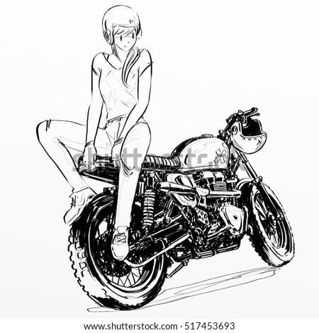 girl riding motorcycle stock illustration royalty free stock Ducati Cafe Racer girl riding motorcycle