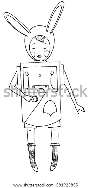 Girl in the robot costume. Small cute girl in a bunny ears hat is wearing robot costume