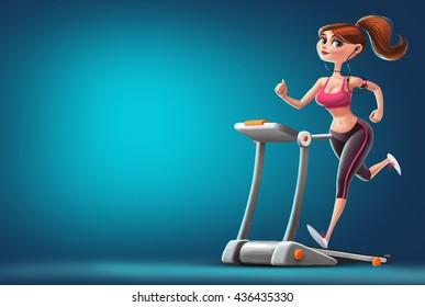 Girl running on the treadmill. character Illustration