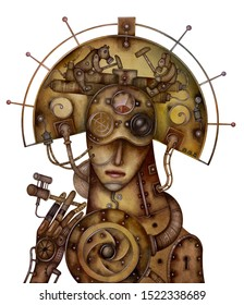 The girl in the Russian folk headdress and Steampunk style.