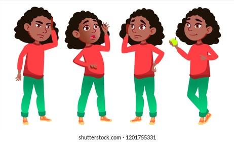 Girl Schoolgirl Kid Poses Set. Black. Afro American. High School Child. Schoolchild. September, Schoolchildren, Teen. For Web, Poster Booklet Design Isolated Illustration