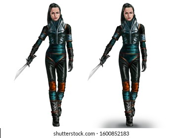 Girl in sci-fi suit with sword walking