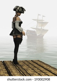 Girl in sexy pirate costume complete with hat thigh high boots and holstered flintlock pistol from rear looking backwards as sailing ship moves into the mist