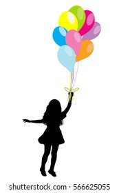 Girl silhouette with colorful balloons on white background