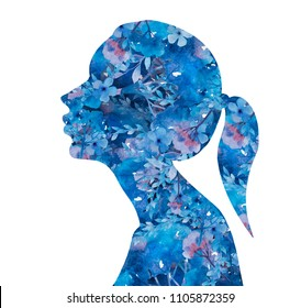 girl silhouette of watercolor flowers and leaves on white background