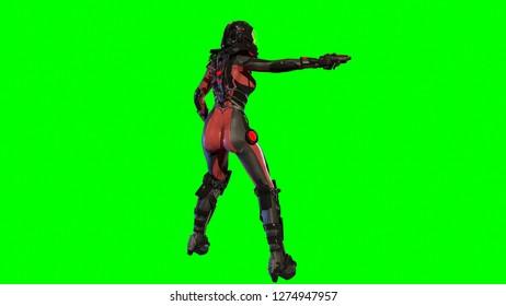 Girl in sky fy space suit 3d render