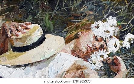 Girl in snow-white dresses sleep on summer grasses. Oil painting.
