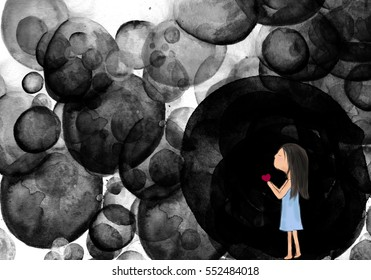 girl standing in black color bubbles with hand holding red heart. Graphic illustration drawing with idea of lonely, love, sad, making wish, valentine. Design template, wallpaper, artistic drawing