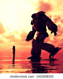 Girl standing in the sea looking to a giant robot in front of her,3d illustration