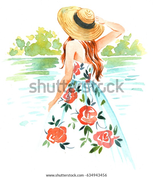 Girl in straw hat and vintage dress near the river, summer watercolor illustration on white background.