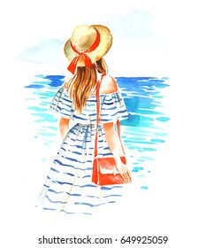 Girl in straw hat and vintage stripped dress near the sea, summer watercolor illustration on white background.