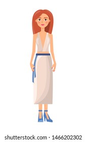 Girl in stylish summer costume of shirt with deep decollete and long skirt belt. young woman light clothes suit isolated raster illustration