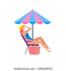 Girl sunbathing on beach character in flat style. Woman in bikini and hat sitting on deckchair with parasol umbrella. Summertime vacation and relaxing  illustration isolated on white background.