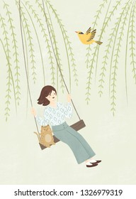 Girl swinging illustration