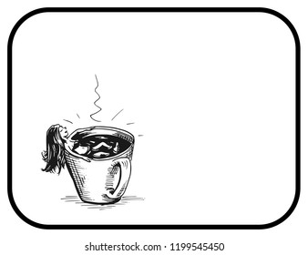 Girl taking a bath in a cup of coffee