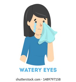 Girl in tears. Symptom of flu or cold. Female character with watery eyes. Sad girl. Flat illustration