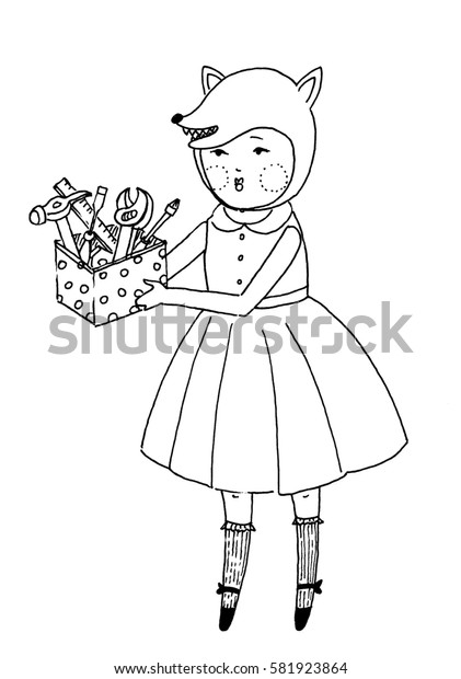 Girl with toolbox. Small cute girl in the animal hat is holding a box with the tools