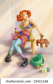 The girl with a toy and a sweet