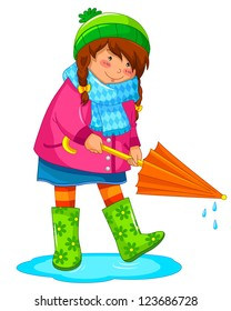 girl with umbrella standing in a puddle (vector available in my gallery)