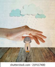 Girl under stormy rainy clouds with palm hand. Concept about sadness,depression and protection. Filtered image.