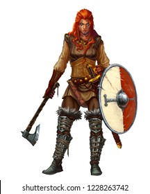 Girl viking fighter with sword and ax and shield and red hair smiling