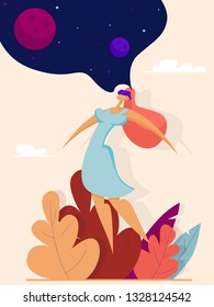 Girl in virtual reality glasses dreams about space. Concept of modern technologies futures. Illustration in flat style