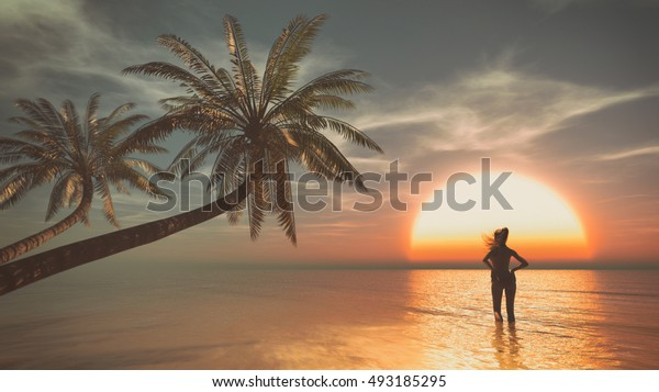 Girl walking into the sea to the sunrise at the palm beach. This is a 3d render illustration