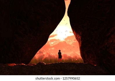 Girl walking to the light and exit the cave,3d illustration