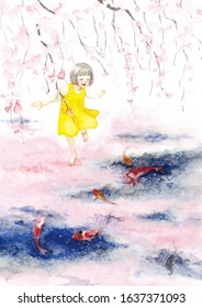A girl walking on the carpet of sakura petals floating on the water surface