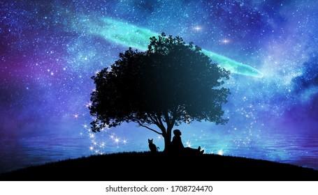 Mädchen, die die Sterne in der nächtlichen Himmelsfantasy-Landschaftsgrafik beobachten