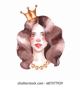 Girl. Watercolor female face. Princess