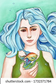 Girl with wavy blue hair and a colorful fish swimming over her open hand. Watercolor illustration on paper.