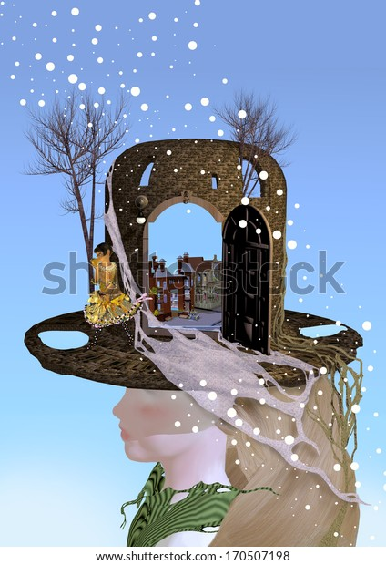 girl wearing a hat that contains windows, trees are growing on it as well, snow is falling from the sky, over a blue sky background, 3D illustration, raster illustration