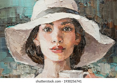 A girl in a white hat with a cup of coffee sits in a cafe.  Fragment of oil painting on canvas.