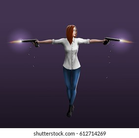 A girl in a white shirt shoots out two pistols