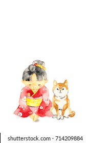 The girl who put on a red kimono and dog