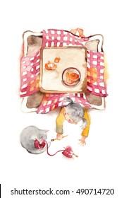 The girl who sprawls, kotatsu, wool and cat/A kotatsu is Japanese traditional heating table