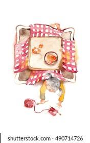 The girl who sprawls, kotatsu and wool/A kotatsu is Japanese traditional heating table