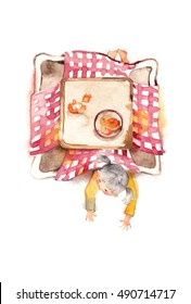 The girl who sprawls and kotatsu/A kotatsu is Japanese traditional heating table