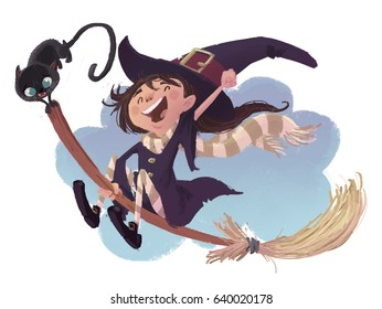 Girl witch flying with broom