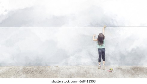 The girl writing the wall with watercolor techniques.