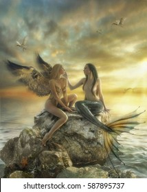 Girl-bird and mermaid sitting on the stone Air and water