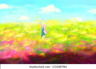 Girls dancing in the sea of flowers in summer hand painted illustration background