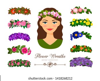 Girls flower wreaths. elegant beautiful young woman portrait with stylish pretty flowers wreath set isolated on white background