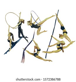 Girls gymnasts circus acrobats set of watercolor illustrations on a white background